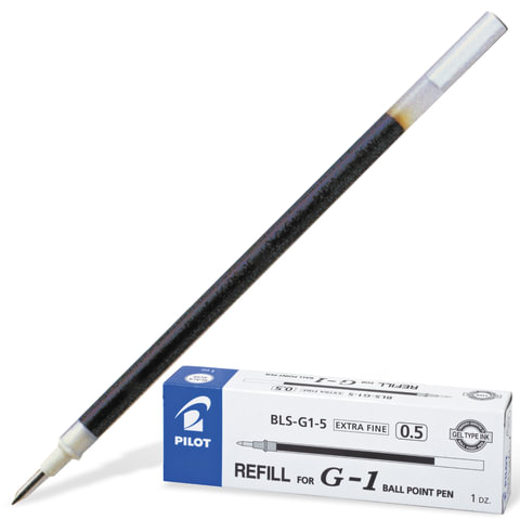 Стержень гелевый PILOT BLS-G1-5, 128 мм, евронаконечник, толщина письма 0,3 мм, к ручке 140469, черный