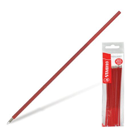 """Стержни шариковые STABILO """"Liner"""", набор 10 шт., 0,38 мм, к ручке 141566, европодвес, красные"""