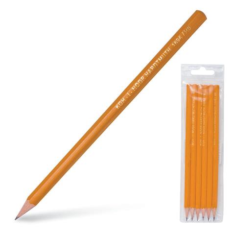 Карандаши чернографитные KOH-I-NOOR, набор 6 шт., 2Н, Н, НВ-2, В, 2В, пластиковая упаковка, европодвес