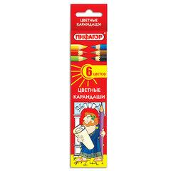 Карандаши цветные ПИФАГОР, 6 цветов, классические, заточенные, картонная упаковка