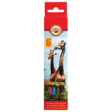 """Карандаши цветные KOH-I-NOOR """"Animals"""", 6 цветов, грифель 2,8 мм, заточенные, европодвес"""