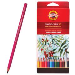 Карандаши цветные акварельные художественные KOH-I-NOOR «Mondeluz», 12 цветов, 3,8 мм, заточенные, европодвес