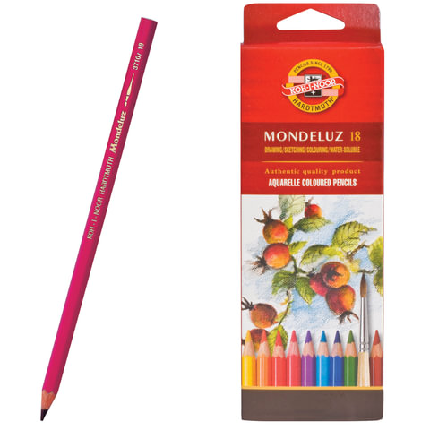 Карандаши цветные акварельные художественные KOH-I-NOOR «Mondeluz», 18 цветов, грифель 3,8 мм, заточенные, картонная упаковка