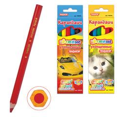 Карандаши цветные утолщенные ПИФАГОР «Котята, Автомобили», 6 цветов, яркие цвета, заточенные