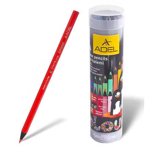 Карандаши цветные ADEL «Colour», 24 цвета, черное дерево, алюминиевый тубус