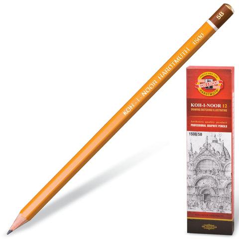 Карандаш чернографитный KOH-I-NOOR 1500, 1 шт., 5B, корпус желтый, без резинки, заточенный