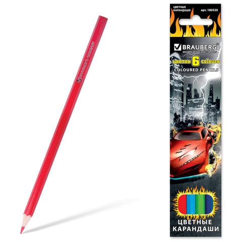Карандаши цветные BRAUBERG (БРАУБЕРГ) «InstaRacing», 6 цветов, заточенные, картонная упаковка с отделкой выборочным лаком