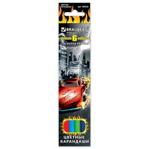 """Карандаши цветные BRAUBERG """"InstaRacing"""", 6 цветов, заточенные, картонная упаковка с отделкой выборочным лаком"""