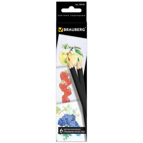 """Карандаши цветные BRAUBERG """"Artist line"""", 6 цветов, черный корпус, заточенные, высшее качество"""