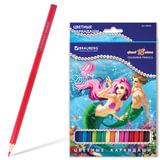 Карандаши цветные BRAUBERG (БРАУБЕРГ) «Морские легенды», 18 цв., заточенные, картонная упаковка с блестками