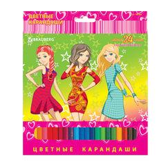 Карандаши цветные BRAUBERG «Pretty Girls», 24 цвета, заточенные, картонная упаковка