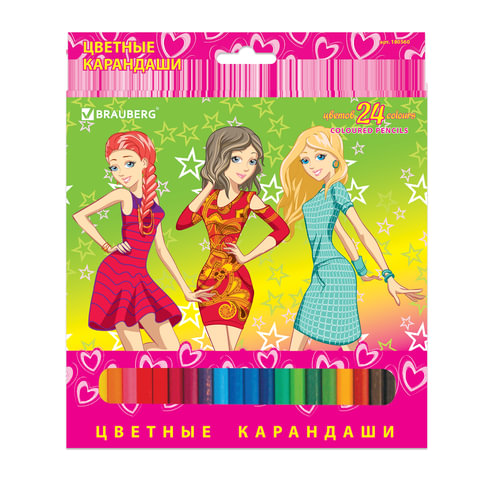 "Карандаши цветные BRAUBERG ""Pretty Girls"", 24 цвета, заточенные, картонная упаковка"