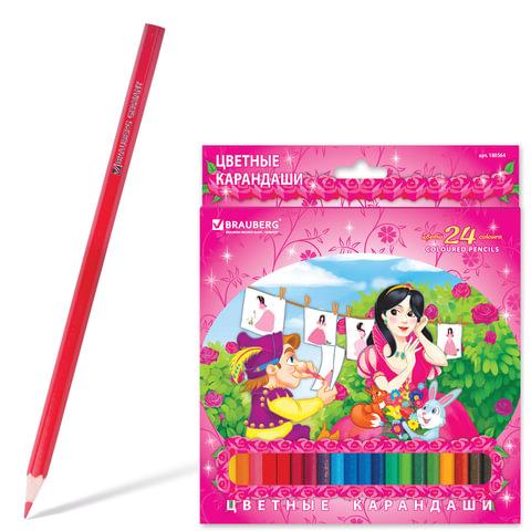 Карандаши цветные BRAUBERG (БРАУБЕРГ) «Rose Angel», 24 цвета, заточенные, картонная упаковка
