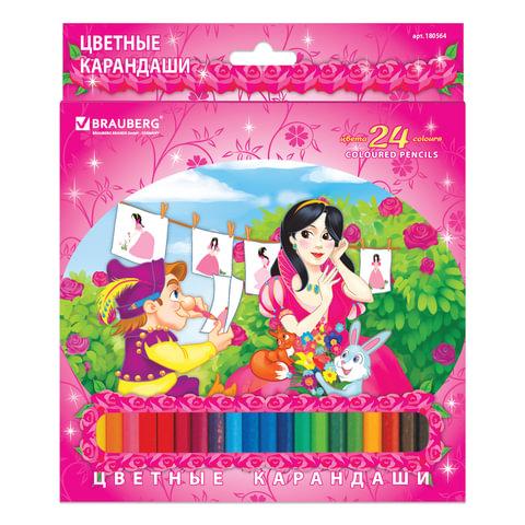 "Карандаши цветные BRAUBERG ""Rose Angel"", 24 цвета, заточенные, картонная упаковка"