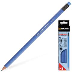Карандаши чернографитные BRAUBERG «Benex», набор 12 шт., НВ, с резинкой, пластиковый синий корпус