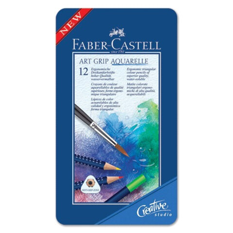 """Карандаши цветные акварельные FABER-CASTELL """"Art Grip акварель"""", 12 цветов, трехгранные, металлическая коробка"""
