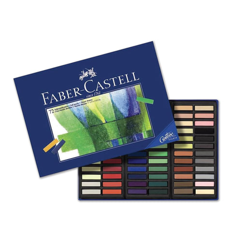 """Пастель художественная FABER-CASTELL (Германия) """"Creative studio"""", мягкая, 72 цвета, 1/2 стандартной длины, картонная коробка"""
