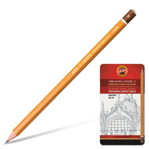 Карандаши чернографитные KOH-I-NOOR «Graphic», набор 12 шт., 5В-5H, без резинки, заточенные, металлическая коробка