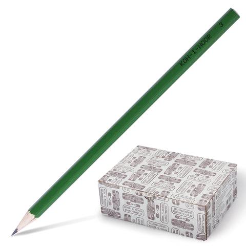 Карандаш чернографитный KOH-I-NOOR HB, корпус зеленый, без резинки, заточенный