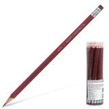 Карандаш чернографитный KOH-I-NOOR, HB, трехгранный, корпус коричневый, с резинкой, заточенный, пластиковый тубус