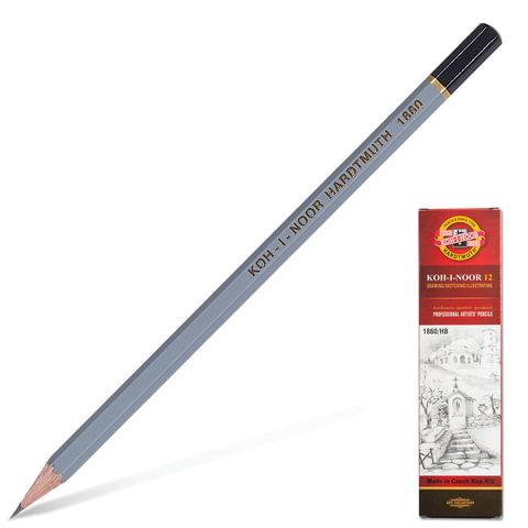 Карандаш чернографитный KOH-I-NOOR «Gold Star», HB, корпус серый, без резинки, заточенный, картонная упаковка