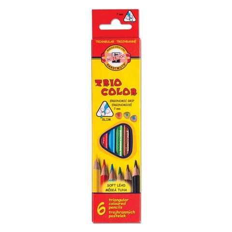 """Карандаши цветные KOH-I-NOOR """"Triocolor"""", 6 цв., трехгранные, грифель 3,2 мм, заточенные, картонная упаковка с европодвесом"""
