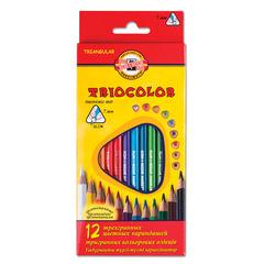 Карандаши цветные KOH-I-NOOR «Triocolor», 12 цветов, трехгранные, грифель 3,2 мм, европодвес