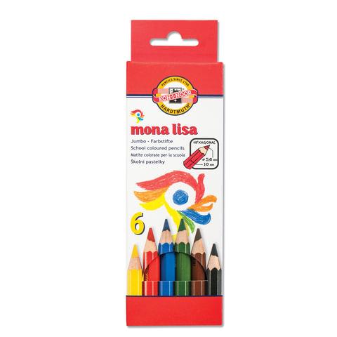 """Карандаши цветные утолщенные KOH-I-NOOR """"Mona Lisa"""", 6 цветов, 5,6 мм, заточенные, европодвес"""