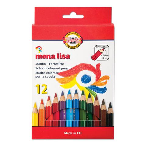 """Карандаши цветные утолщенные KOH-I-NOOR """"Mona Lisa"""", 12 цветов, грифель 5,6 мм, заточенные"""