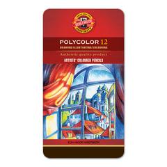 Карандаши цветные художественные KOH-I-NOOR «Polycolor», 12 цветов, 3,8 мм, металлическая коробка