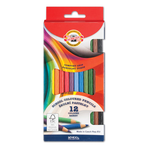Карандаши цветные KOH-I-NOOR, 12 цветов, грифель 3,2 мм, рифленый корпус, заточенные, европодвес