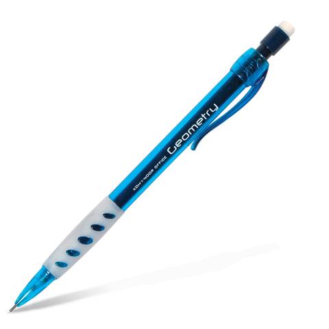 Карандаш механический KOH-I-NOOR, 1 шт., «Geometry», корпус тонированный голубой, резиновый держатель, 0,5 мм, с ластиком