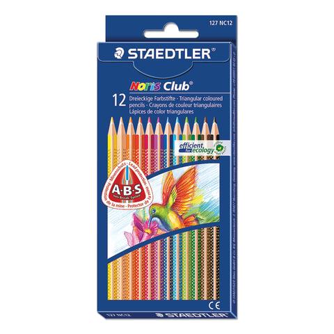 """Карандаши цветные STAEDTLER (Германия) """"Noris club"""",12 цветов, трехгранные, заточенные, европодвес"""