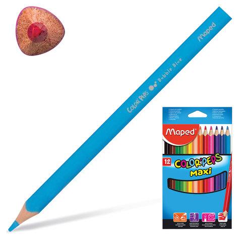 """Карандаши цветные утолщенные MAPED (Франция) """"Color Pep's"""", 12 цветов, трехгранные, заточенные"""