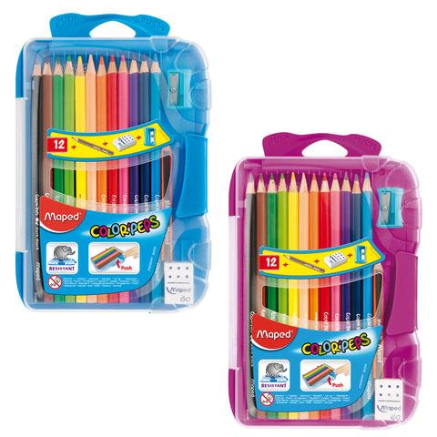 """Карандаши цветные MAPED (Франция) """"Color Pep's"""", 12 цветов, точилка+резинка+чернографитный карандаш, пластиковый пенал"""