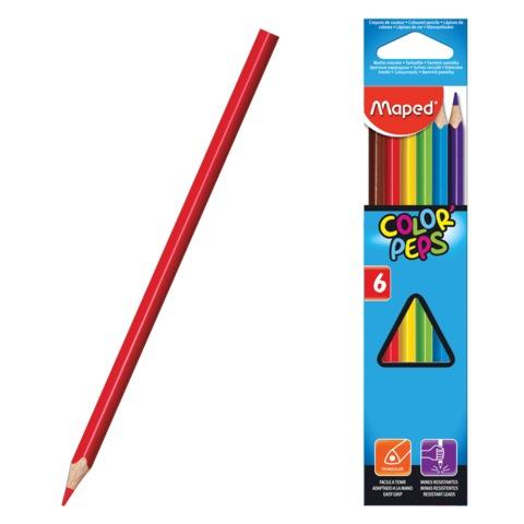 Карандаши цветные MAPED (Франция) «Color Pep's», 6 цветов, трехгранные, картонная упаковка с европодвесом