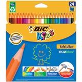 Карандаши цветные BIC «Kids ECOlutions Evolution», 24 цвета, пластиковые, заточенные, европодвес