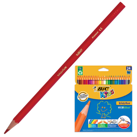 Карандаши цветные BIC «Kids ECOlutions Evolution» (Франция), 24 цвета, пластиковые, заточенные, картонная упаковка