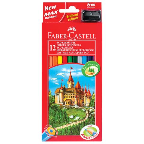 """Карандаши цветные FABER-CASTELL """"ECO Замок"""", 12 цв., с точилкой, картонная упаковка с европодвесом"""