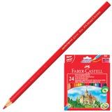 Карандаши цветные FABER-CASTELL «ECO Замок», 24 цв., с точилкой, картонная упаковка с европодвесом
