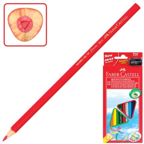 Карандаши цветные FABER-CASTELL «ECO», 12 цв., трехгранные, с точилкой, картонная упаковка с европодвесом