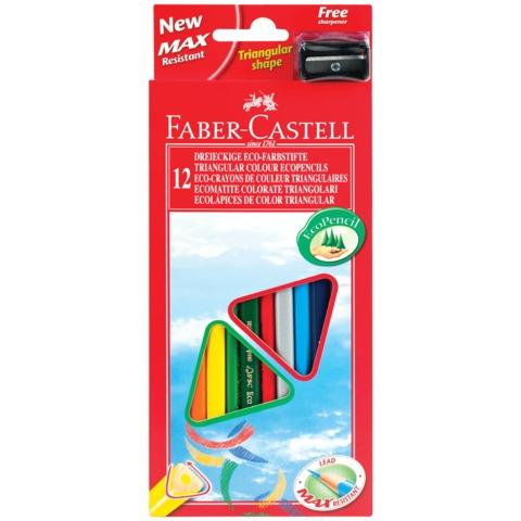 """Карандаши цветные FABER-CASTELL """"ECO"""", 12 цв., трехгранные, с точилкой, картонная упаковка с европодвесом"""