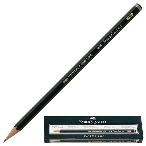 Карандаш чернографитный FABER-CASTELL, 1 шт., «Castell 9000», HB, темно-зеленый корпус, без ластика
