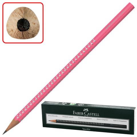 Карандаш чернографитный FABER-CASTELL, 1 шт., «Sparkle Neon», B, трехгранный, корпус розовый с блестками, без ластика
