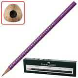 Карандаш чернографитный FABER-CASTELL, 1 шт., «Sparkle Pastel», B, трехгранный, корпус фиолетовый с блестками, без ластика