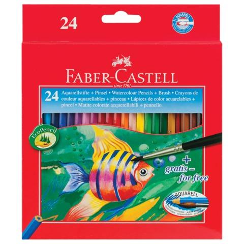 """Карандаши цветные акварельные FABER-CASTELL """"Colour Pencils"""", 24 цвета, с кисточкой, картонная упаковка"""