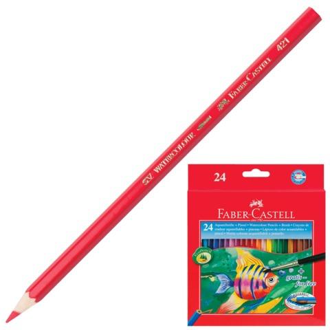 Карандаши цветные акварельные FABER-CASTELL «Colour Pencils», 24 цвета, с кисточкой, картонная упаковка