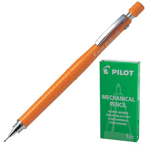 Карандаш механический PILOT Н-329, профессиональный, 0,9 мм, корпус оранжевый, цанговый зажим, с клипом, ластик