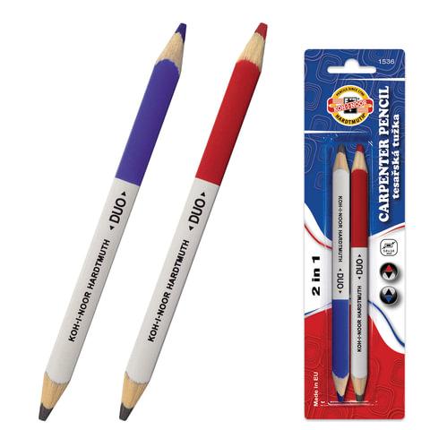 Карандаши столярные KOH-I-NOOR, набор 2 шт., «Duo», грифель 5×2 мм, двусторонние (ч/<wbr/>г-красный, ч/<wbr/>г-синий), заточенные, блистер