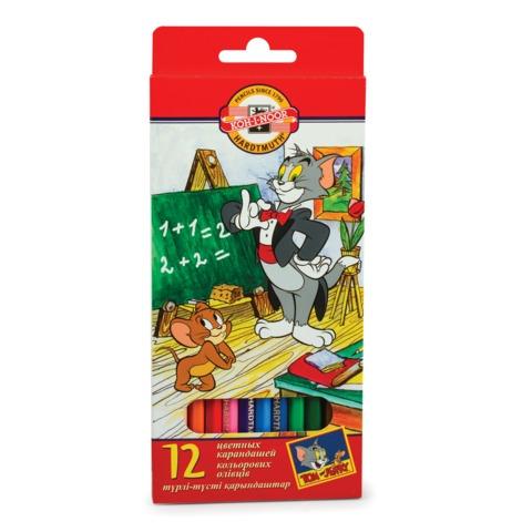 """Карандаши цветные KOH-I-NOOR """"Tom and Jerry"""", 12 цветов, грифель 3,2 мм, европодвес"""